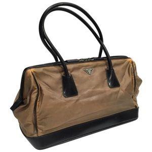 Prada tan Tessuto nylon black leather satchel bag
